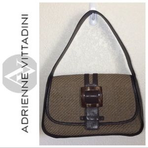 Handbags - NWOT Adrienne Vittadini leather & straw woven bag